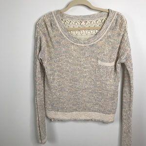 Free People Sweet Jane Rainbow Knit Sweater Lace